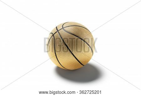 Blank Gold Rubber Basketball Ball Mock Up, Side View, 3d Rendering. Empty Basketbal Equipment For Le
