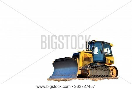Track-type Bulldozer With Bucket On Isolated White. Earth-moving Equipment. Land Clearing, Grading,