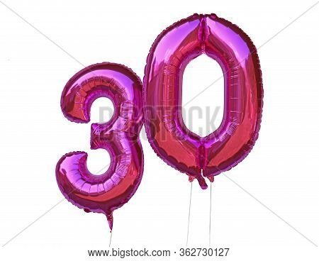 Pink Helium Balloons Number 30 Thirty Isolated On White Background