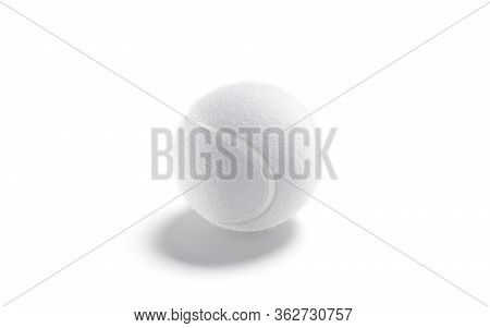 Blank White Tennis Ball Mock Up, Side View, 3d Rendering. Empty Circle Fibrous Equipment For Sporty