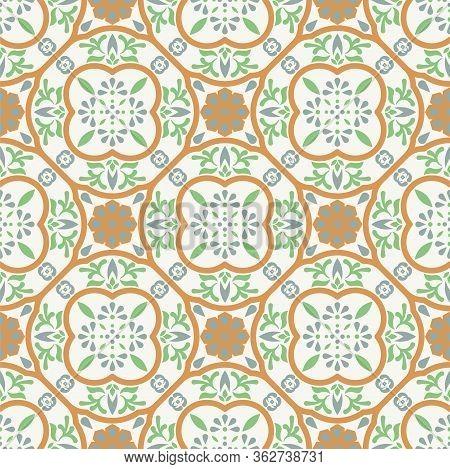 Spanish Pattern Tile Seamless Pattern. Mediterranean Ceramic Tiles Vector Design Pastel Soft Colors.