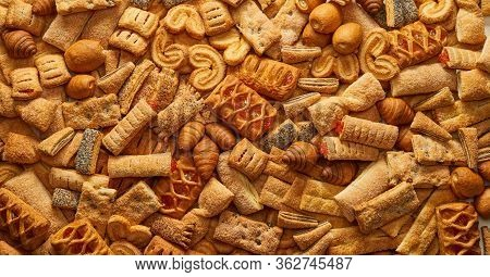 Top View Of A Variety Of Cookies Texture Background Of The Cookie In The Studio Cookies Wallpaper Ba
