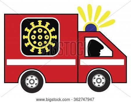 Coronavirus Ambulance Car. Caricature Of Emergency Vehicle To Fight The Covid-19 Pandemic