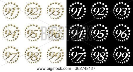 Set Of Numbers From Ninety-one To Ninety-nine. Anniversary Celebration Design With A Circle Of Golde