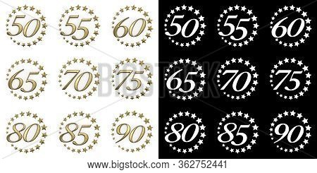 Set Of Numbers From Fifty To Ninety. Anniversary Celebration Design With A Circle Of Golden Stars On