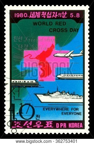 Stavropol, Russia - April 23. 2020:: A Stamp Printed By  North Korea, Shows  Red Cross Transport,  W