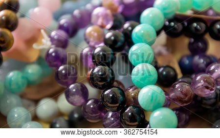 Crystal Stone Macro-mineral, Purple Amethyst With Large Quartz Crystals, Beads, Beads, Jewelry.