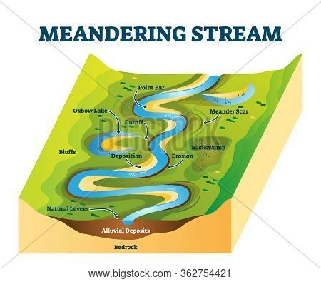 Meandering Stream Vector Illustration. Labeled River Curves Cause Explanation Scheme. Diagram With W