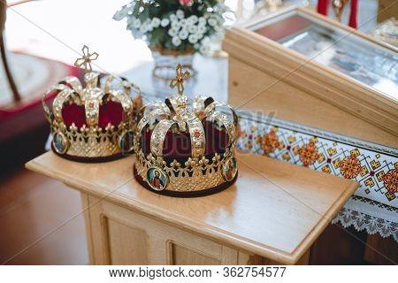 Orthodox Wedding Crowns, Church Icons, Church Books, Gospel On The Table