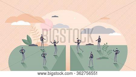 Divided People Vector Illustration. Social Community Separation Tiny Persons Concept. Split Populati