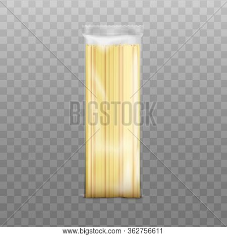 Spaghetti Long Pasta Packaging Template, Realistic Vector Illustration Isolated.