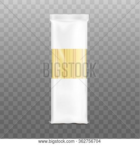 Spaghetti Pasta Blank Packaging Template Realistic Vector Illustration Isolated.