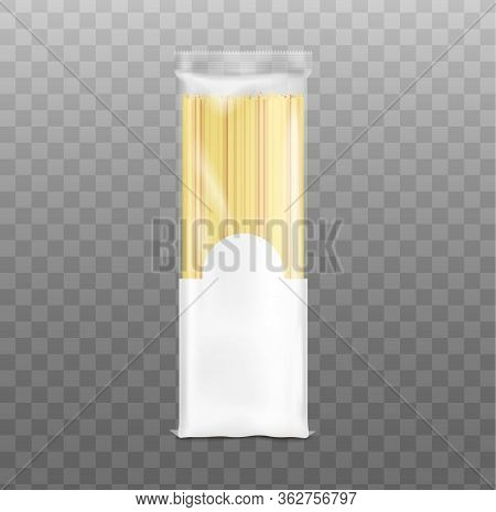Blank Realistic Spaghetti Pack Mockup With Clear Plastic Top