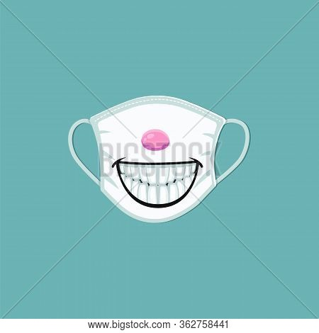 Medical Mask With Cartoon Smile Print - Scary Design On Safety Mask