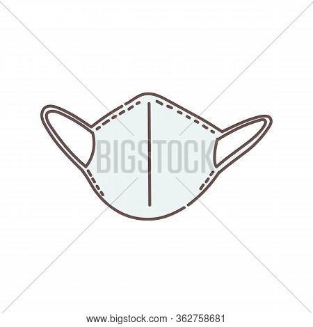 Plain White Medical Face Mask Icon Isolated On White Background