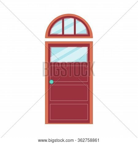 Red Modern Front Door With Arched Top Window, Isolated Vector Illustration.