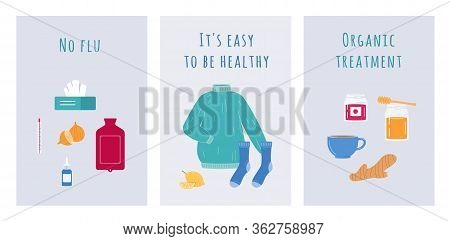 Home Treatment From Flu Virus - Cartoon Poster Set With Home Remedies