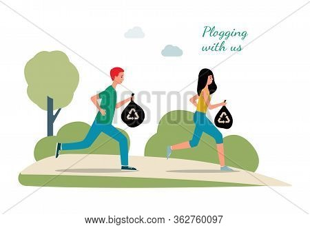 Plogging Banner With Running People Cleaning Litter, Flat Vector Illustration.