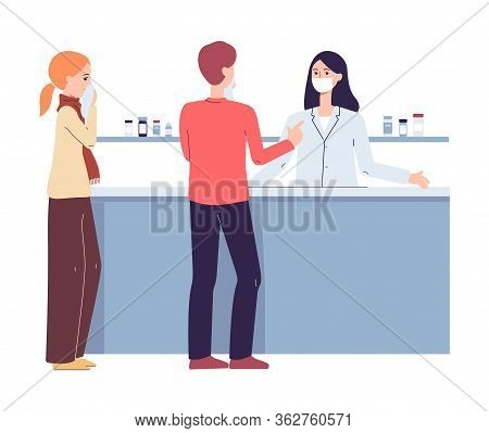 People At Pharmacy Checkout Counter - Pharmacist Woman In Mask And Customers