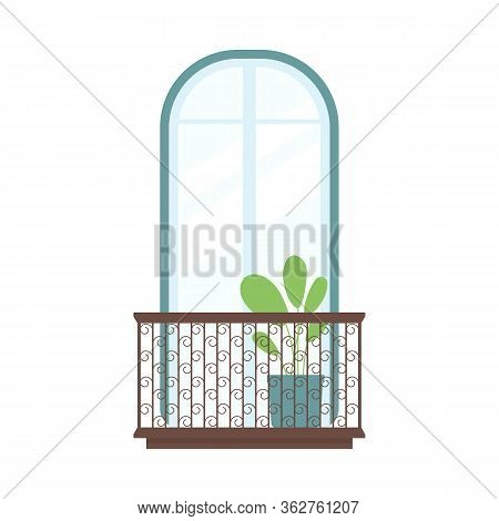 Arched Window With Balcony, Houseplant Decor And Ornate Handrail