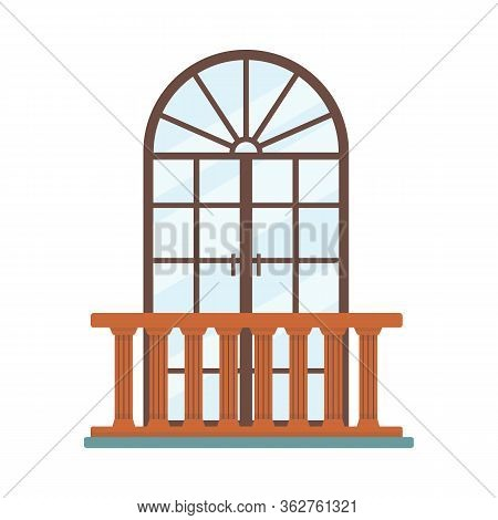 Arched Glass Door With Wooden Handrail Isolated On White Background