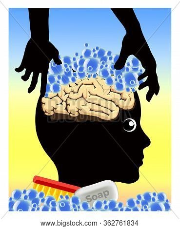 Caricature And Metaphor Of How The Thoughts Of People Can Get Manipulated