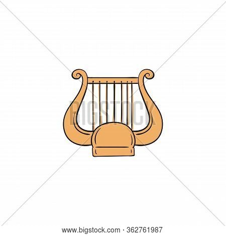 Yellow Lyre Icon - Harp Like String Music Instrument From Ancient Greece