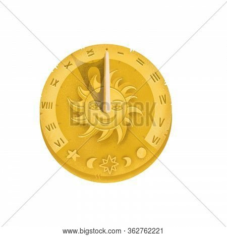 Top View Of Sundial Icon With Shadow. Concept Of Clock Face With Roman Numerals, Timer Silhouette, M