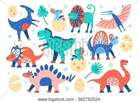 Set Of Little Cute Dinosaurs. Triceratops, T-rex, Diplodocus, Pteranodon, Stegosaurus. Prehistoric A