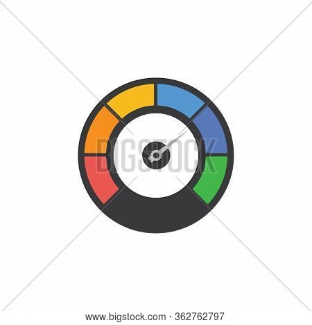 Speedometer For Car Tachometer Gauge Cartoon Icon, Vector Illustration Isolated.
