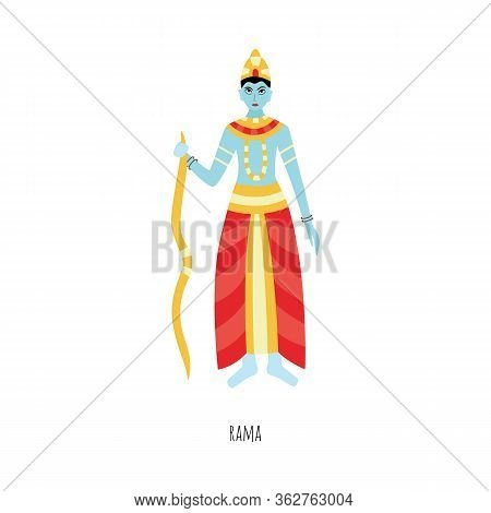 Cartoon Rama - Isolated Hindu God With Blue Skin From Ramayana Poem