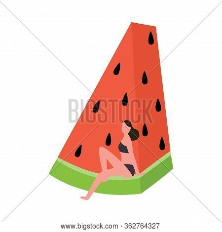 Cartoon Woman In Swimsuit Sitting On Giant Watermelon Piece Rind