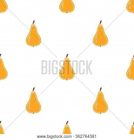 Pear Fruit Color Vector Plain Seamless Pattern. Simplified Retro Illustration. Wrapping Or Scrapbook