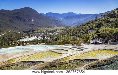 Baishuitai White Water Terraces Is Located In The Foothills Of The Haba Snow Mountains, 101km Southe