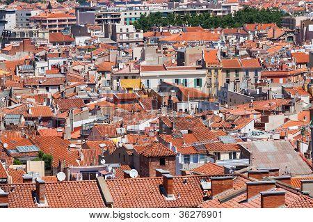 City Panorama Of Perpignan, France