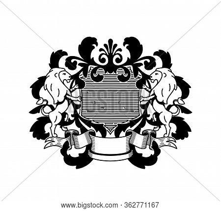 Heraldry Flourish Royal Vintage Monochromatic Emblem Family Crest Logo Luxury