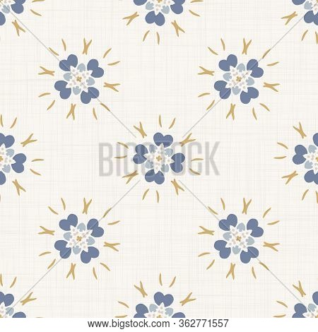 Seamless Daisy Pattern In French Blue Linen Shabby Chic Style. Hand Drawn Floral Damask Texture. Old