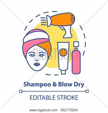 Shampoo And Blow Dry Concept Icon. Hair Care And Treatment Products. Hairstyling Idea Thin Line Illu