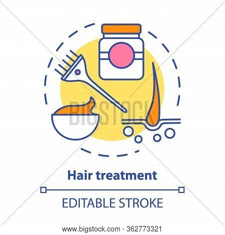 Hair Treatment Concept Icon. Hair Care And Cosmetology Procedures. Hairstyling Idea Thin Line Illust