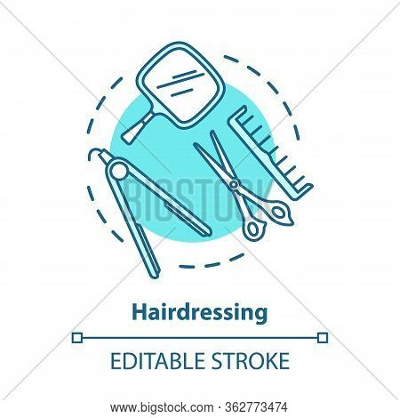 Hairdressing Blue Concept Icon. Hairdresser Salon Professional Equipment, Hairstylist Tools Idea Thi