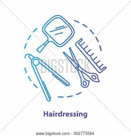 Hairdressing Blue Concept Icon. Hairdresser Salon Professional Equipment Idea Thin Line Illustration