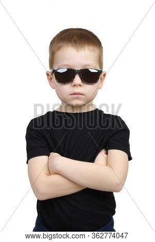 Cool young boy isolated on white background