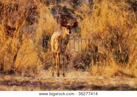 Artistic Impression Young Njala In Winter Bush Painting