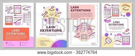 Lash Extension Brochure Template Layout. False Eyelashes. Flyer, Booklet, Leaflet Print Design With