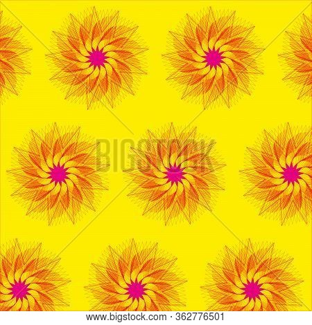 Images Of Abstract Elements On A Yellow Background In The Form Of Pink Stars.