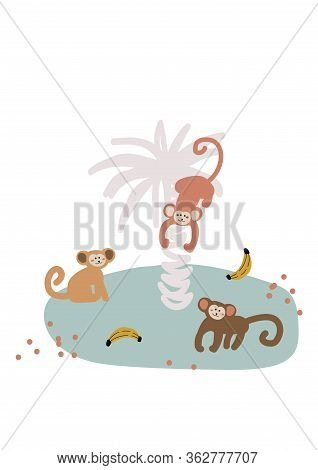 Cute Cartoon Monkey On Island Vector Childish Illustration. Funny Monkey Animals On The Palm Vertica
