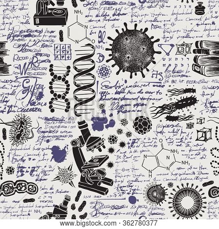 Vector Seamless Pattern On The Theme Of Chemistry, Biology, Genetics, Medicine In Retro Style. Hand-