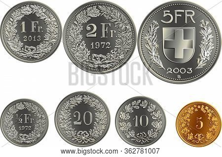 Set Of Swiss Francs Money, Official Coin In Switzerland, Reverse Faces With Federal Coat Of Arms, Va