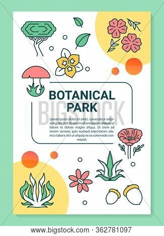 Botanical Park Poster Template Layout. Plants Species. Blooming Flowers. Banner, Booklet, Leaflet Pr