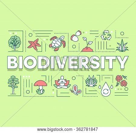 Biodiversity Word Concepts Banner. Forest Reserve. Maintenance Of Ecosystem. Underwater Life. Presen